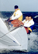 Karl (in the middle) Soling-racing.